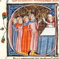 Discussion entre un évêque et des clercs lépreux