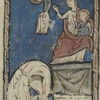 Acrobate devant une statue de la Vierge à l'enfant